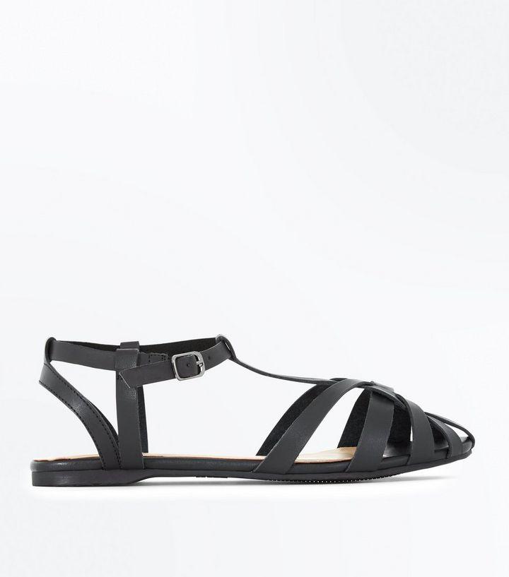 Pubblicità peso neutro  Black Caged Flat Sandals | New Look