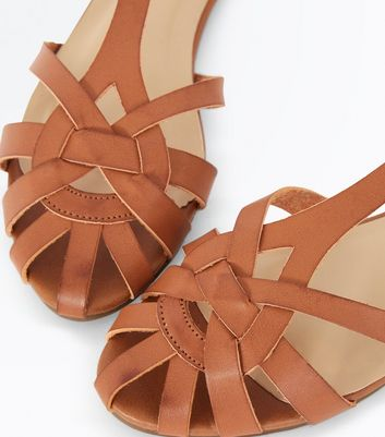 Tan Caged Flat Sandals New Look