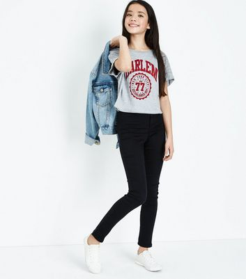 Teens Grey Harlem 77 Print T-Shirt New Look