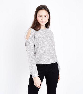 Teens Cream Marl Cold Shoulder Jumper New Look