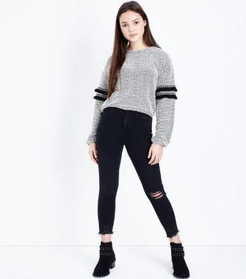 Teens Black Tassel Trim Jumper New Look
