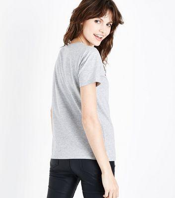 Grey Metallic Candy Cane Heart T-Shirt New Look