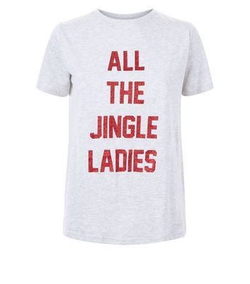 Grey Jingle Ladies Glitter Print Christmas T-Shirt New Look