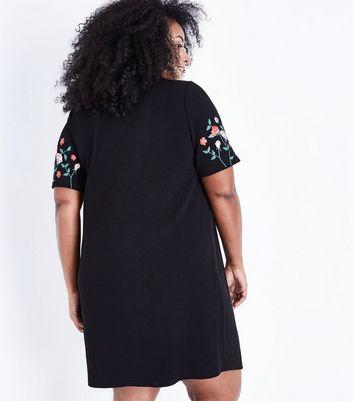 Curves Black Floral Puff Print Tunic Dress New Look