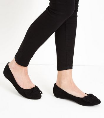 Extra Wide Fit Black Suedette Ballet Pumps New Look