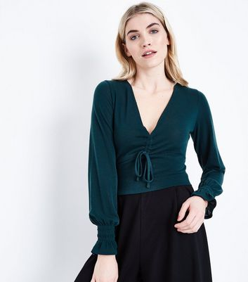 Dark Green Ruched Front Crop Top New Look