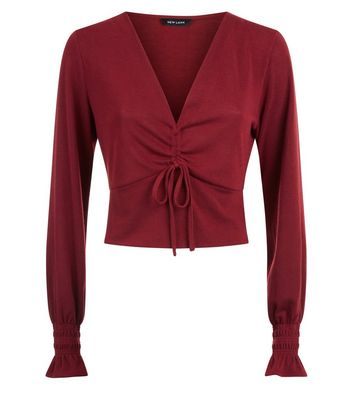 Burgundy Ruched Front Crop Top New Look