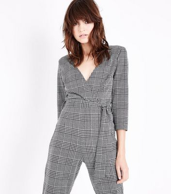 Grey Prince of Wales Check Jumpsuit New Look