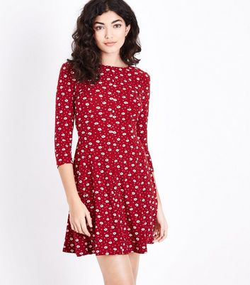3a18db0c398 Red Ditsy Floral Soft Touch Skater Dress