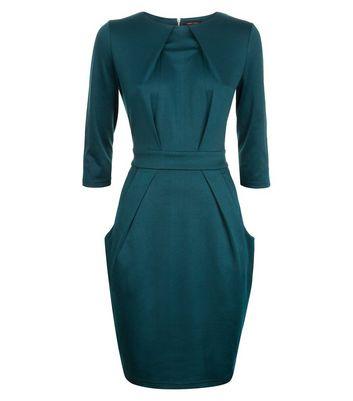 Dark Green Double Pocket Tulip Dress New Look