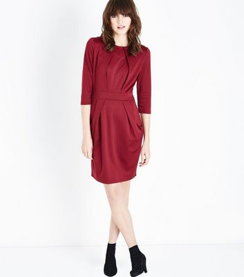 Burgundy Double Pocket Tulip Dress New Look