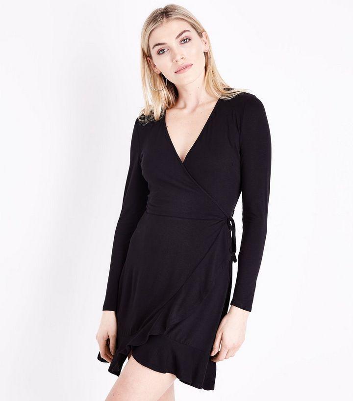 09d02b9c89b Black Frill Trim Jersey Wrap Dress