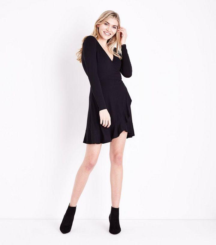 665c1bcce61 ... Black Frill Trim Jersey Wrap Dress. ×. ×. ×. Shop the look