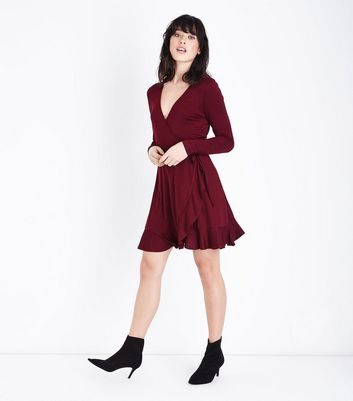 Burgundy Frill Trim Jersey Wrap Dress New Look