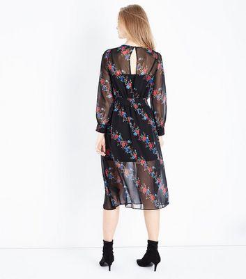 Black Floral Stripe Chiffon Midi Dress New Look
