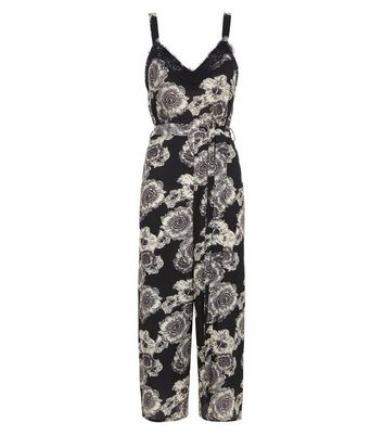 Black Floral Lace Trim Culotte Jumpsuit New Look