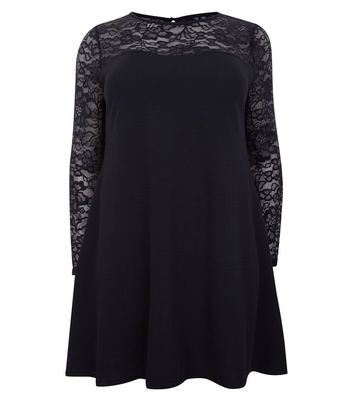 Mela Curves Black Lace Yoke and Sleeve Dress New Look