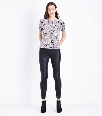 Light Grey Floral Velvet Burnout T-Shirt New Look