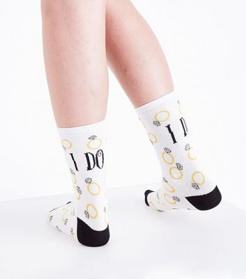 White Slogan I Do Socks New Look