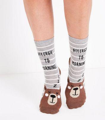 Grey Allergic To Mornings Slogan Socks New Look