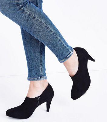 Wide Fit Black Suedette Cone Heel Shoe Boots New Look