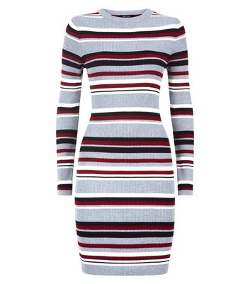 Grey Multi Stripe Ribbed Jumper Dress New Look
