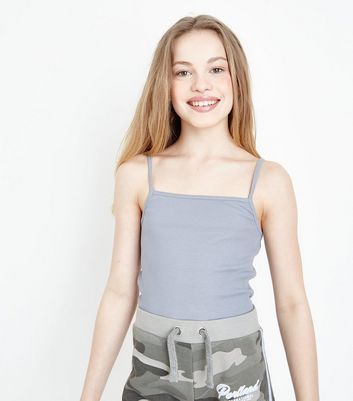 Girls Pale Blue Ribbed Square Neck Cami