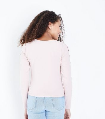 Teens Pale Pink Lattice Shoulder Top New Look