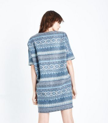 Apricot Blue Aztec Print Brushed Tunic Dress New Look