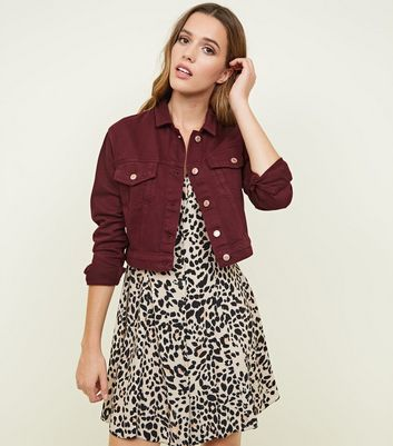 Burgundy Cropped Denim Jacket