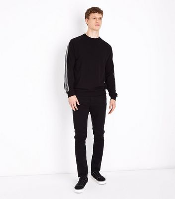 Black Stripe Tape Sleeve Sweater New Look