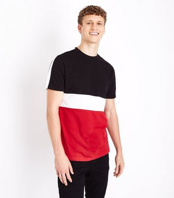 Red Colour Block T-Shirt New Look