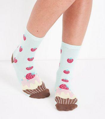 Mint Green Cupcake Print Socks New Look