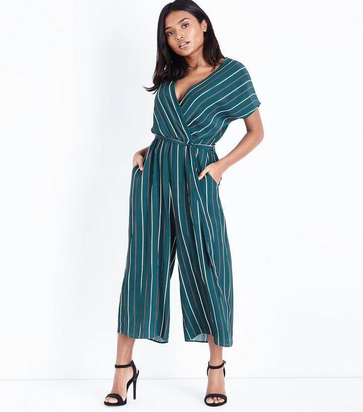 b35a9d45ff5 Petite Green Stripe Wrap Front Culotte Jumpsuit