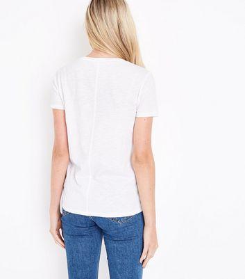 White Organic Cotton V Neck T-Shirt New Look