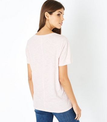 Pink Organic Cotton V Neck T-Shirt New Look