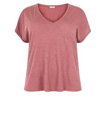 Curves Rust Organic Cotton V Neck T-Shirt New Look