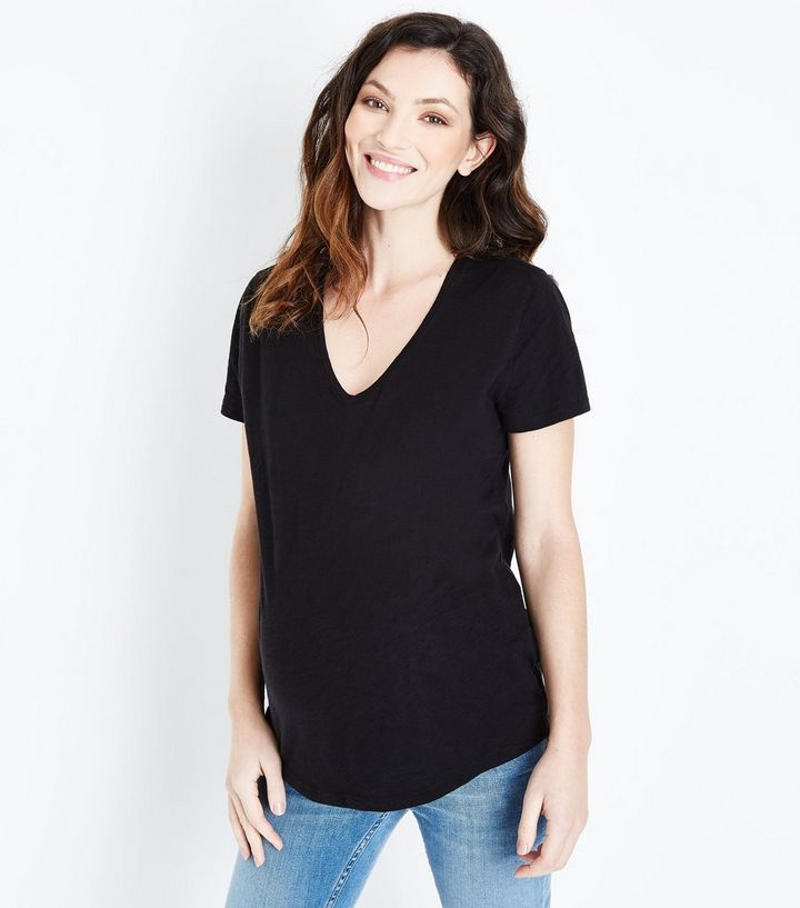 b82dcb8cc7895 Maternity Black Organic Cotton V Neck T-Shirt | New Look