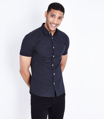 Navy Polka Dot Muscle Fit Poplin Shirt
