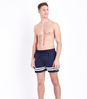 Navy Double Stripe Swim Shorts New Look