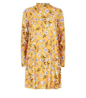 Yellow Floral Print High Neck Swing Dress New Look