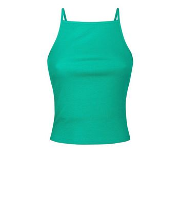 Green Square Neck Cami New Look