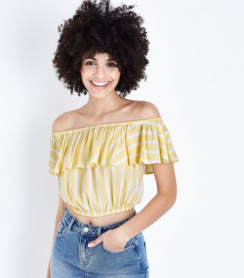 Yellow Stripe Frill Bardot Crop Top