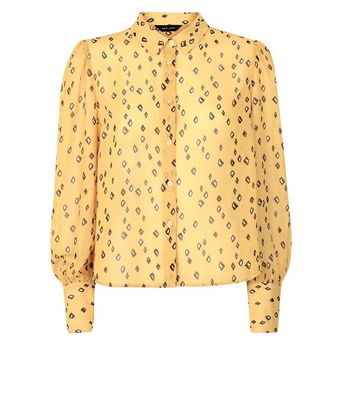 Mustard Floral Balloon Sleeve Blouse New Look
