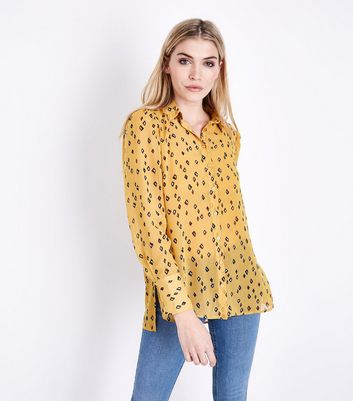 Mustard Diamond Print Step Hem Shirt New Look