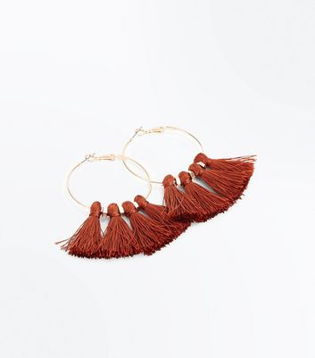 Rust Tassel Hoop Earrings New Look