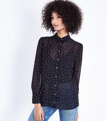 Black Spot Print Chiffon Shirt New Look