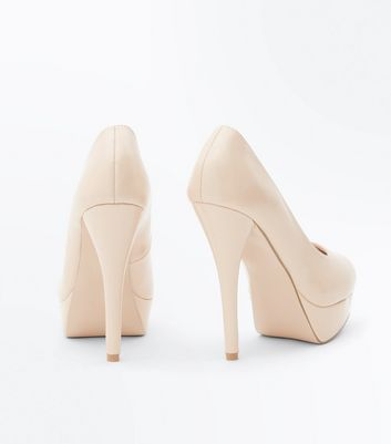 Nude Platform Stiletto Heel Courts New Look