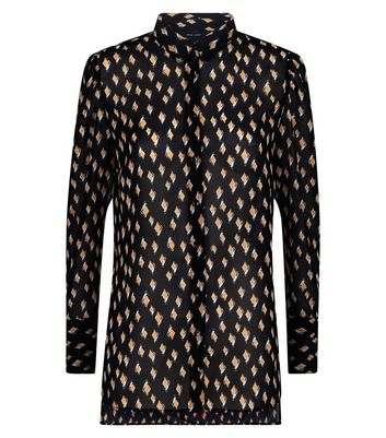 Black Diamond Print Step Hem Shirt New Look