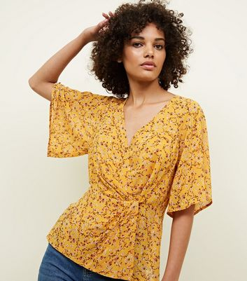 Yellow Floral Twist Wrap Front Top